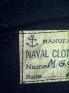 anchor--my future tattoo.  tag of a ww2 navy jumper(photo from my phone)