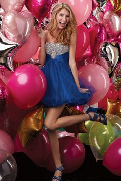 Sweet 16. Love the dress and all the balloons!