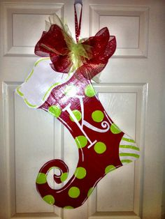 Christmas Stocking Door Hanger by SunDaysDesigns on Etsy, $35.00