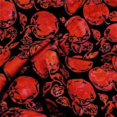 Hoffman Cotton Batik Fabric, Apples, Bright Red on Black, Per FQ #Hoffman