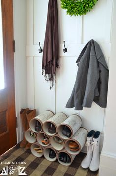 Shoe organizer made from PVC pipes. Tutorial on how to make them look like birch bark logs.