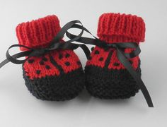Lady Bug Baby Booties Hand Knit for Newborn by BabywearbyBabs, $19.00