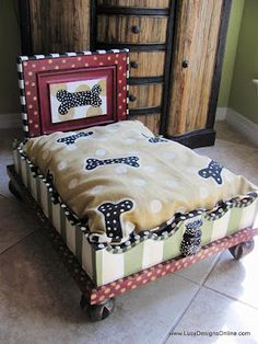 custom dog beds from old upside down end tables