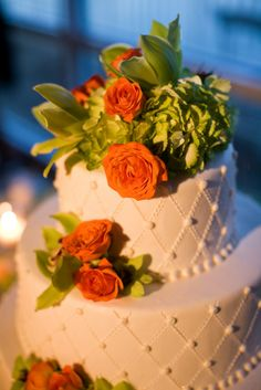 Orange and Lime Green Wedding Cake