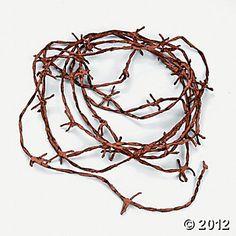 table decorations, idea, nylon, barbwir cord, barbed wire, barb wire, cords, rusti barbwir, parti