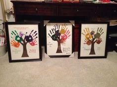 grandparents gift family handprint trees from children/ grandchildren