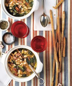 Slow-Cooker White Bean Soup with Andouille and Collards #RealSimple..might be good to substitute small meatballs instead?