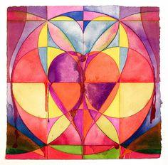 rag paper, don sinish, paper 11, sinish art, heart mandala, broken heart, heart watercolor, 140 lb