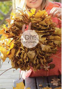 Easiest Leaf Wreaths Extend the season's beauty http://www.willowday.com/2012/11/easiest-leaf-wreath-ever.html