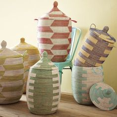 These lidded baskets add eclectic colors to traditional shape.