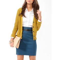 Teal skirt, white blouse, mustard cardi