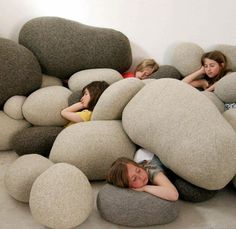 river rocks, floor pillows, playroom, toy boxes, cushion, stone, pillow fight, bean bags, kid