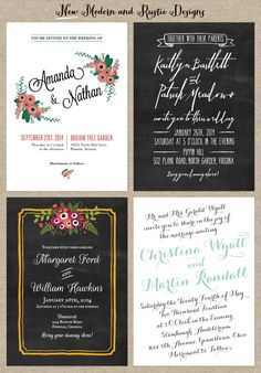 Modern and Rustic Wedding Invitations from www.lovevsdesign.com