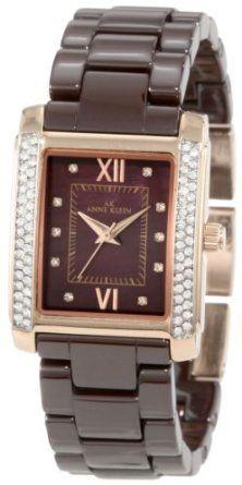 Anne Klein Women's 10/9922RGBN Swarovski Crystal Accented Rosegold-Tone Chocolate Ceramic Bracelet Watch: Watches