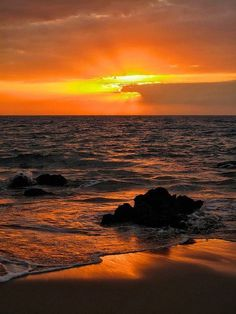 orange sunset by the ocean