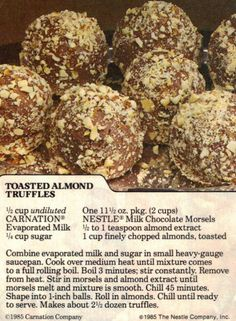 Toasted Almond Truffles Recipe Clipping almonds, sweet bite, almond truffl, truffl recip, truffles recipe, toast almond