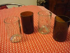 Recycled wine bottles crafted into cool drinking glasses!!  Crafted by Mamaw Moms Treasures.