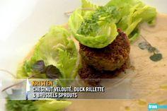 Kristen Kish's Chestnut Veloute, Duck Rillette & Brussels Sprouts