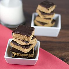 No-bake peanut butter squares with chocolate... amazing! #foodgawker