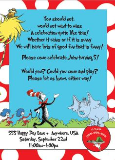 Dr. Seuss Birthday Invite.