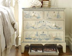 avon decorated chest-medium/ butter pecan with blueberry accent/ somerset bay home products