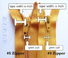 ZIPPERS 101: There are so many different types of zippers out there it may be a little difficult to decide which zippers will work best for your projects. Here is a little bit of information on the different types of zippers, how to properly measure a zipper, the parts of a zipper, and an easy way to shorten a zipper.