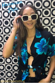 Pretty floral Womens hawaiian shirt blouse. Floral top for a luau, fancy dress party, uniform, casual or cruise.  #hawaiianshirt #ladiesshirt #ladieshawaiianshirt #fancydress #uniform #luau #cruise #cruisewear #springbreak #barshirt #schoolies #luaushirt #luau #partyshirt #bluehibiscusshirt #floralshirt #uniforms