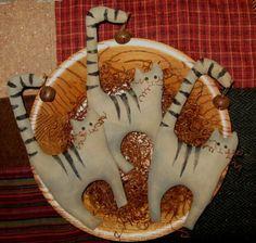"Primitive Halloween Tabby Cats Bowl Fillers Tucks Ornies ""Set of 3 | eBay"