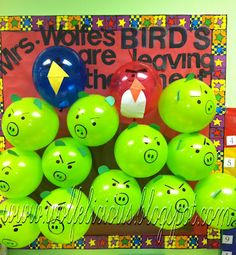 End of the year Angry Birds bulletin board.