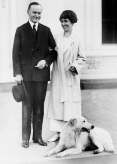 President Calvin Coolidge and first lady Grace had a veritable menagerie at the White House, including exotic animals such as lion cubs, a wallaby,a pigmy hippo, and a bear. This photo was taken Nov. 5, 1924 and shows the Coolidges on the White House portico with their white collie.