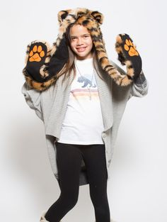What's Your Spirit Animal? ..... TIGER (Faux Fur) ..................... Traits: Fierce > Powerful > Protective .Find out more about the #Tiger #Spirit #Animal at: https://www.spirithoods.com/kids/girls/tiger/1019/# $69 #Gifts #Fashion #SpiritHood #SpiritHoods #Hoodie #FauxFur #Paws #Scarf #Kids #Girls #ProBlue #InnerAnimal