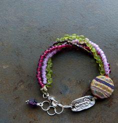 nice use of focal bead color mix, focal, necklac bracelet, color schemes, bracelets, accessori, bracelet ring, color combinations, ceramic beads