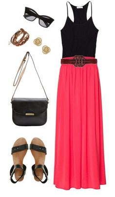 Summer outfit black and pink.