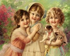 emil vernon, vintage images, little girls, oil paintings, vintage prints