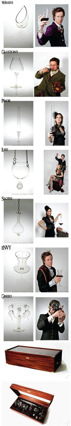 7 deadly sins wine glasses