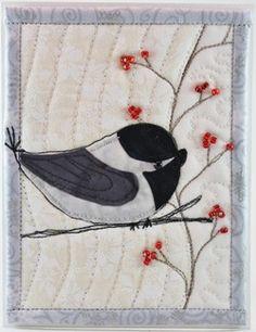chickadee with berries card