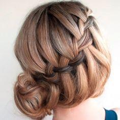 waterfall braided bun.