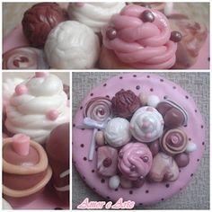 Tampa para pote de vidro decorada em biscuit, doces em marrom e rosa