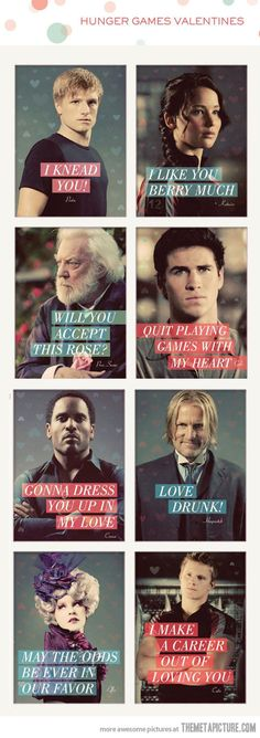 Hunger Games' Valentines-these are great.