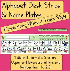 Handwriting Without Tears style: Desk Strips & Nameplates! Enter for your chance to win 1 of 4.  Handwriting Without Tears style: Desk Strips & Nameplates  (18 pages) from Print Path on TeachersNotebook.com (Ends on on 11-10-2014)  Desk models are used to promote phonics development, letter identification, and proper letter formation.  Single stoke formations are modeled using these vertical manuscript letters. They are ideal for learning to print as letters start on easy to identify ...