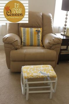 Foot stool, CHECK. DIY No-sew foot stool cover. Simply wrap fabric around, and pin!