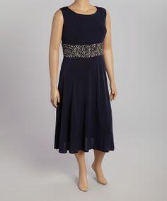 Navy & Beige Waistband Sleeveless Dress