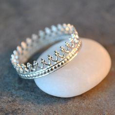 delicate crown ring in bright sterling silver on Etsy, $29.50