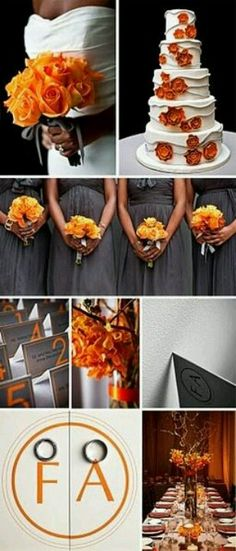 Grey and orange for a fall wedding <3
