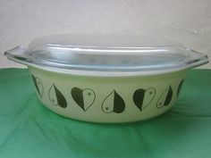 Vintage Pyrex has a pretty big following. This one has gold hearts/leafs. It's a rare promo item from the 50's! Very cool if you're going for a vintage vibe in your kitchen.
