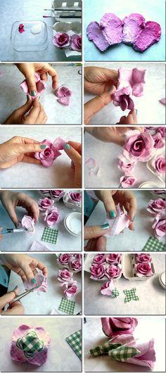 Egg Carton Flowers..thoese look pretty darned real! carton rose, idea, craft, eggs, roses, egg cartons, diy, flower, eggcarton