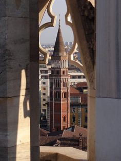 San Gottardo Bell Tower (campanile) in Milan, Italy photographed from the Duomo di Milano