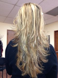 Various blonde highlights & layered.
