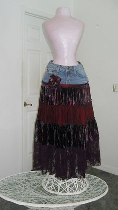 Cerise wild cherry bohemian jean skirt ruched velvet vintage purple lace burgundy red rose Renaissance Denim Couture