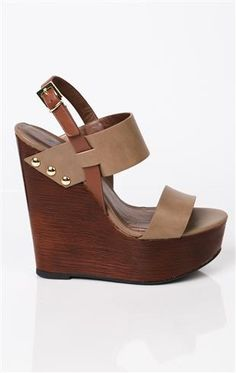 Deb Shops open toe platform #wedges with wood heel and thick straps and studs